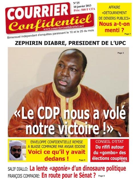 Votre journal Courrier confidentiel N°25, du 10 au 24 janvier, est disponible chez tous les bons revendeurs de journaux au Burkina Faso.