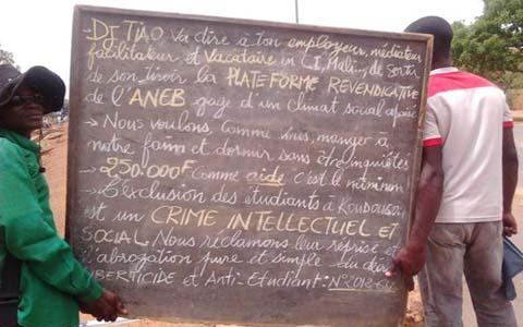 Déclaration de l'ANEB: Non à la parade du Premier Ministre Luc Adolphe TIAO Sur nos campus!