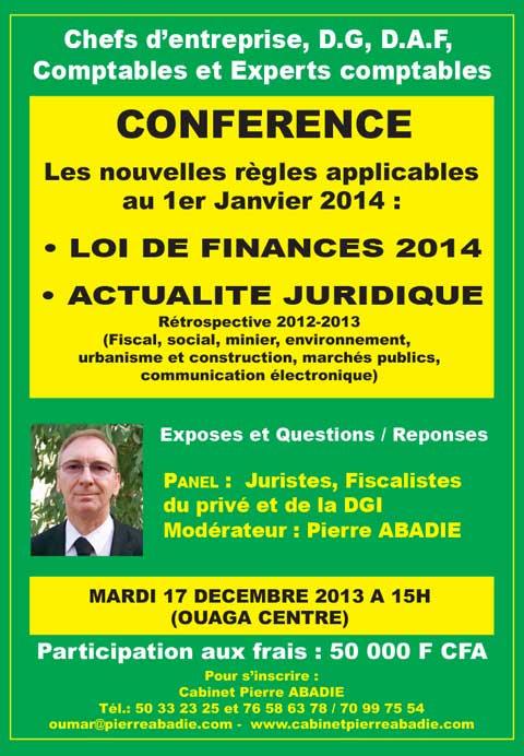 Conférence le 17 décembre 2013 à 15h: La LOI DE FINANCES 2014 et les nouvelles règles applicables au 1er janvier 2014