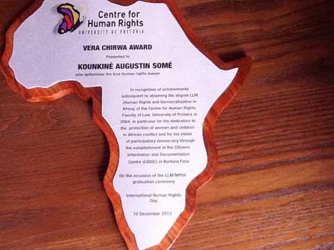 Droits de l'Homme: Kounkinè Augustin Somé lauréat du Prix Vera Chirwa de l'Université de Pretoria