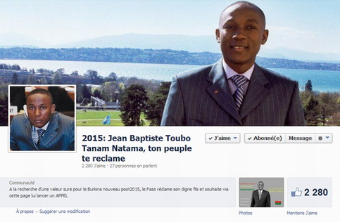Présidentielle 2015: Jean Baptiste Natama, l'espoir de certains jeunes facebookeurs
