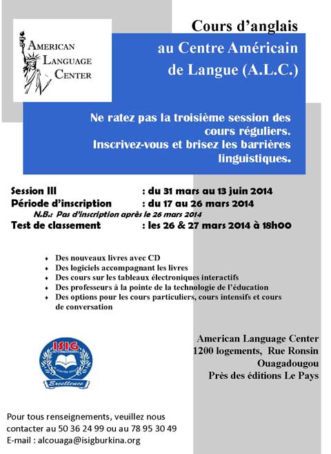 Cours d'anglais au Centre Américain de Langue (A.L.C.)