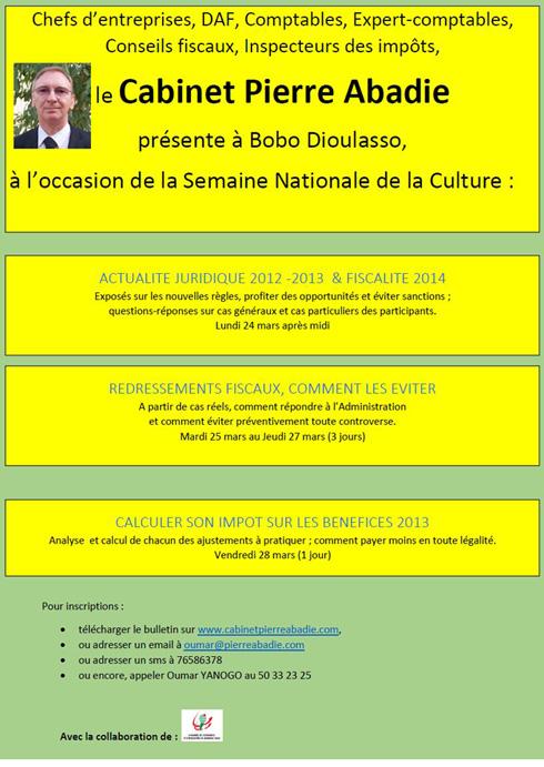 Cabinet Pierre ABADIE: séminaires de fiscalité à Bobo du 24 au 28 mars