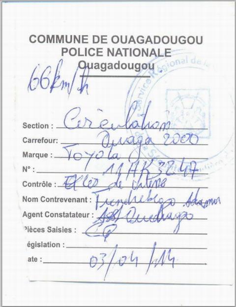 Humeur: Abus  de la force publique et non respect du principe du droit burkinabè par la police nationale