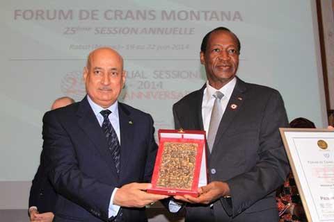 Promotion de la paix et de la démocratie en Afrique: Blaise Compaoré lauréat du prix de la Fondation Crans Montana