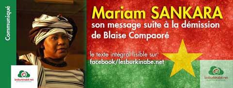 Insurrection populaire: Mariam Sankara félicite le peuple burkinabè