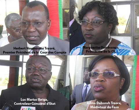 La Cour des Comptes, l'ASCE, le Médiateur du Faso et la CIL ont remis leur rapport à Michel Kafando