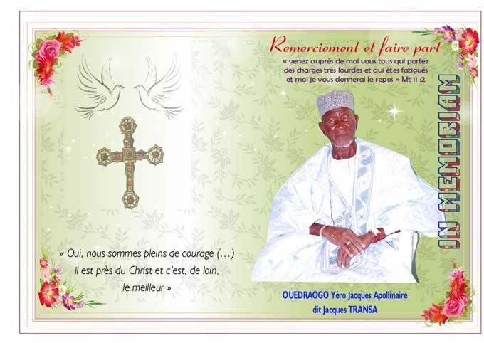 Décès de Ouédraogo yero Jacques Apollinaire  dit Jacques Transa: Remerciements et faire-part