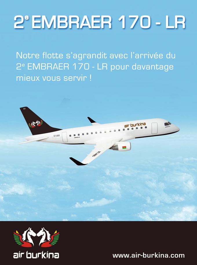 AIR BURKINA: Arrivée du  2è EMBRAER 170-LR