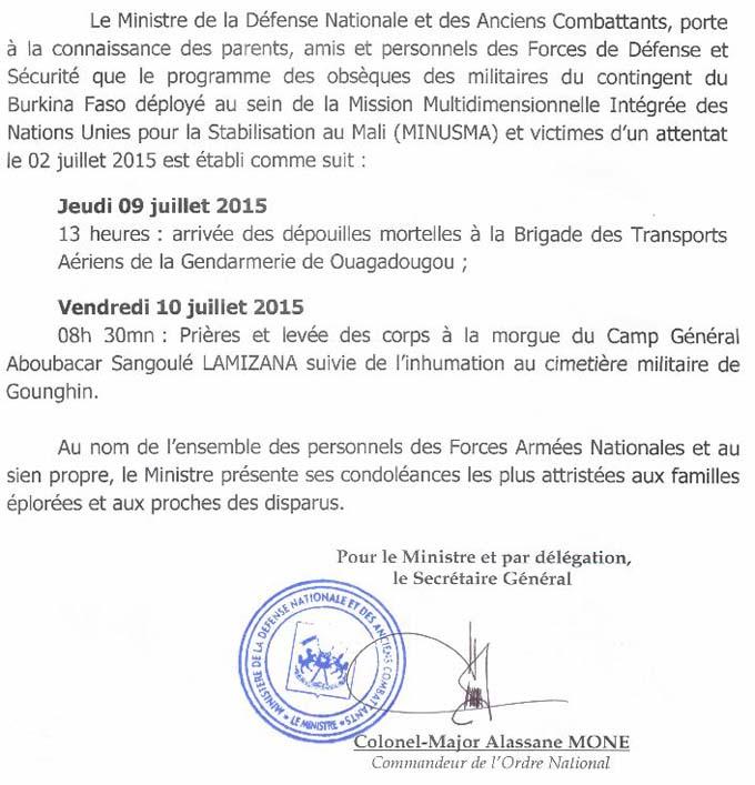 Programme des obsèques des militaires du contingent du Burkina Faso déployé au Mali et victimes d'un attentat le 02 juillet 2015