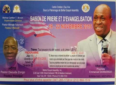 Saison de prière et d'évangélisation avec le prophète Emmanuel Sawadogo