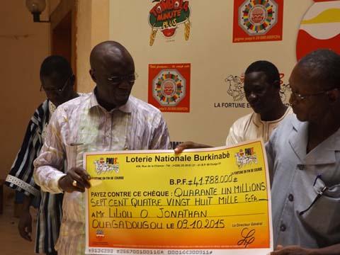 Loterie Nationale Burkinabè: 41 788 000  francs CFA  pour Liliou Jonathan
