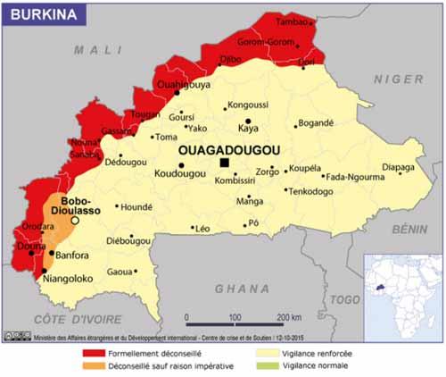 Burkina: La nouvelle cartographie des risques selon la diplomatie française