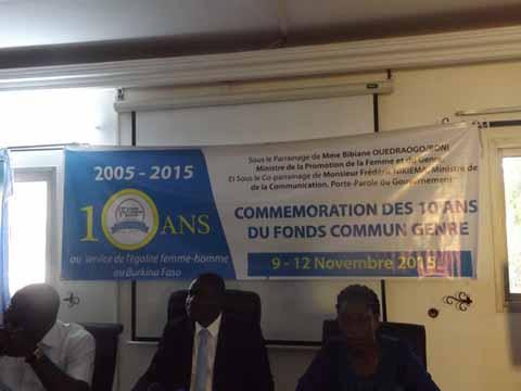 Fonds commun genre: 10 ans au cœur de la  promotion  du genre au Burkina