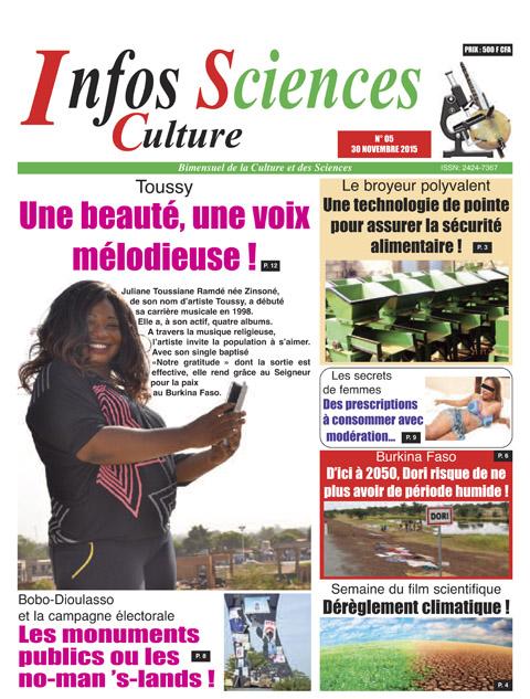 Infos Sciences Culture (ISC) dans son édition N°05 du 30 novembre 2015