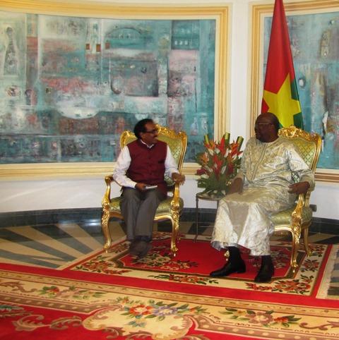 Audience: L'ambassadeur de l'Inde au Burkina était chez le président du Faso