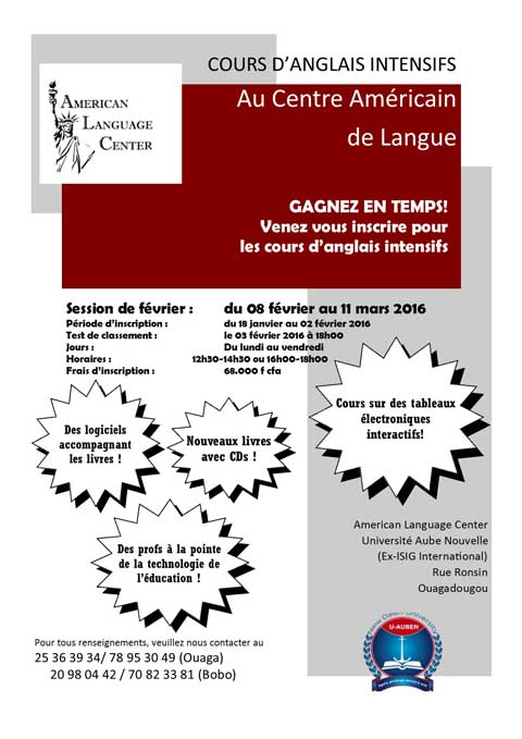 Cours D Anglais Intensifs Au Centre Americain De Langue Gagnez En Temps Lefaso Net