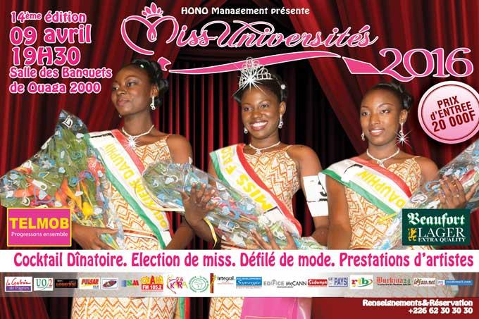 Miss Universités 2016: le 09 avril à 19h dans la salle des banquets de OUAGA 2000