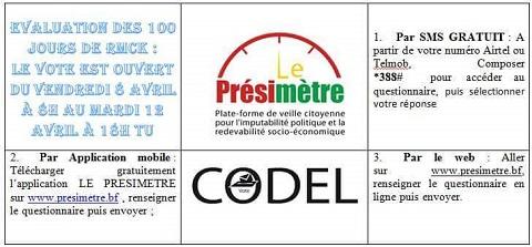 Evaluation des 100 jours du président du Faso sur www.presimetre.bf