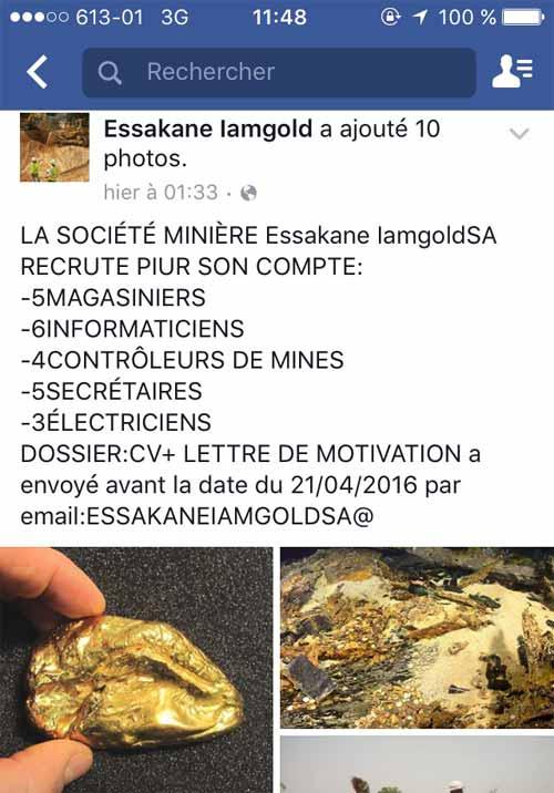 Cyber escroquerie: Qui utilise le nom d'Essakane IAM Gold dans un faux recrutement de 23 employés?