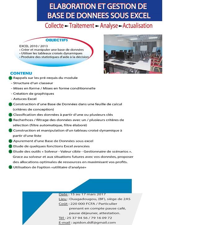 2AS offre une formation en ELABORATION ET GESTION DE  BASE DE DONNEES SOUS EXCEL
