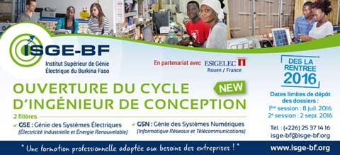 Concours d'entrée au cycle d'ingénieur de conception de l'ISGE-BF