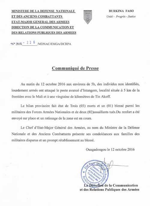 Ministère de la défense: Le bilan provisoire de l'attaque d'Intagom  ce matin, est de 03 morts et 01 blessé pour l'armée et 2 assaillants tués