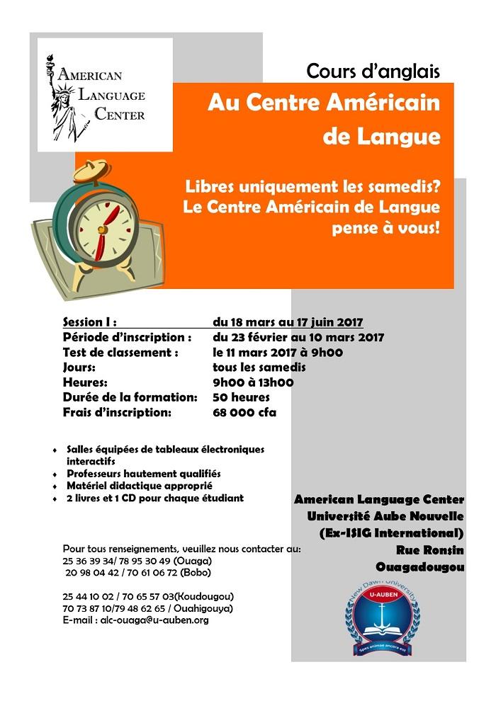 Session spéciale de cours d'anglais au Centre Américain de Langue