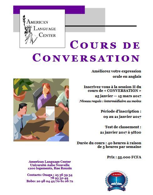 Inscrivez-vous à la session II du cours de «CONVERSATION» 25 janvier - 15 mars 2017