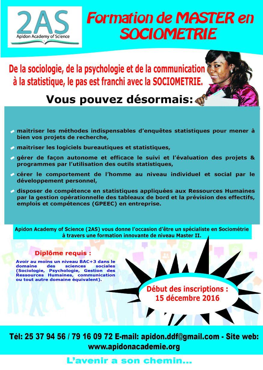 2AS offre une formation de master en sociométrie
