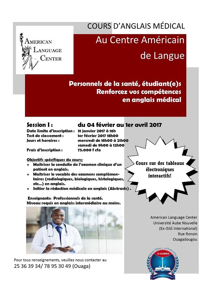 Cours d'anglais médical au Centre Américain de Langue