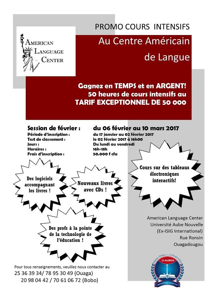 Promo cours intensif au Centre Américain de Langue