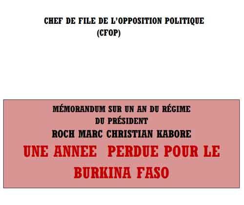 «Une année perdue pour le Burkina Faso»: L'intégralité du mémorandum de l'opposition burkinabè