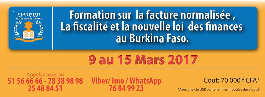 Formation sur le thème 'Maitrisez la fiscalité, la nouvelle loi des finances 2017  comprendre le mécanisme, les techniques et principes de la facture normalisée bientôt en vigueur au Burkina Faso'
