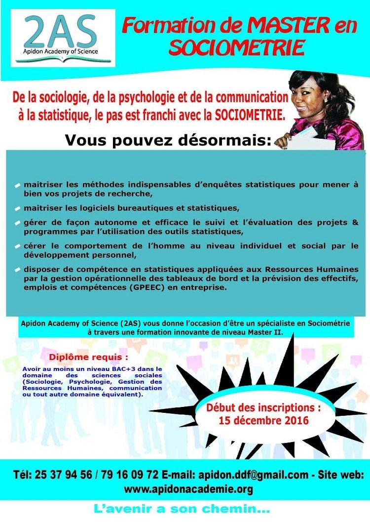 Appel à candidature pour une formation de master en sociométrie