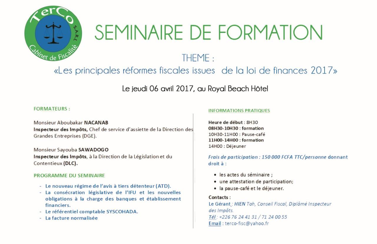 Seminaire de formation sur le thème: Les principales réformes fiscales issues  de la loi de finances 2017