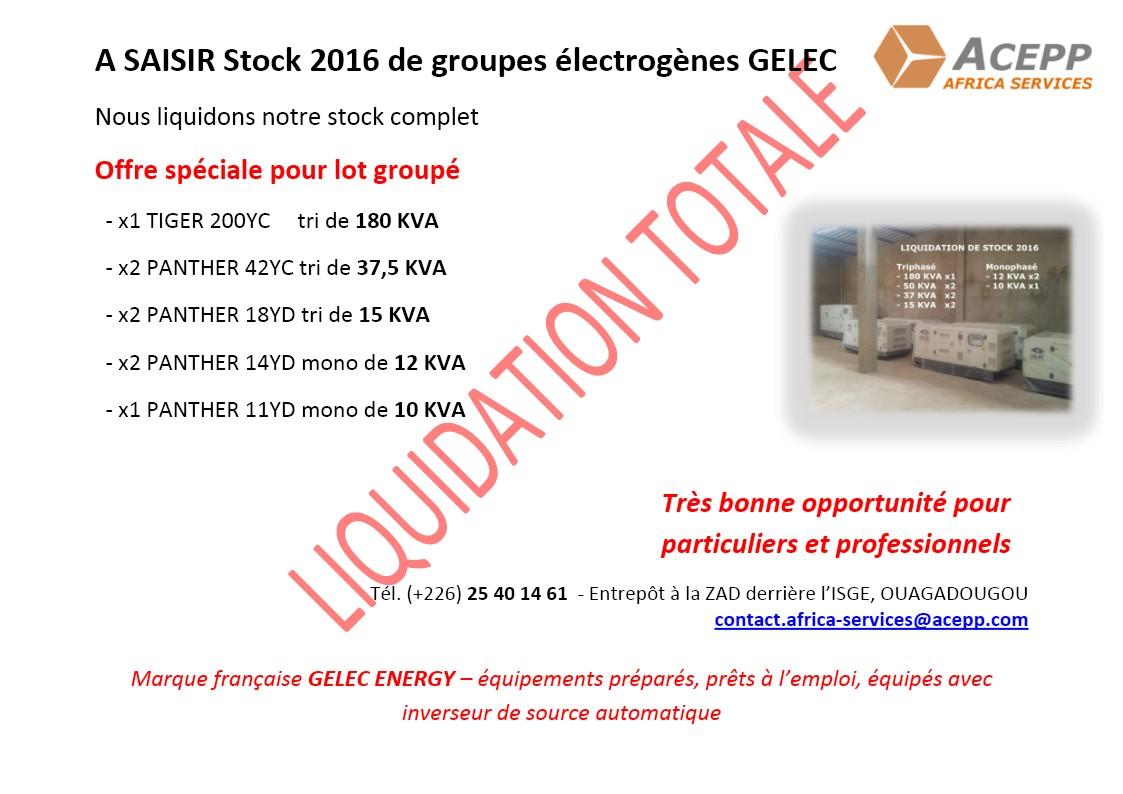 Liquidation totale du stock 2016 de groupes électrogènes GELEC avec inverseurs de source automatique