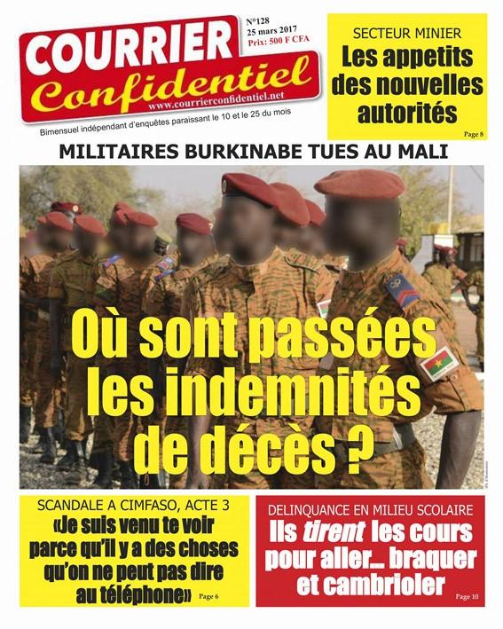 Et voici «Courrier confidentiel» N°128! (Disponible chez les revendeurs de journaux au Burkina Faso).