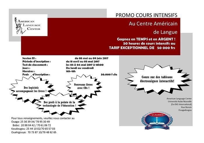 PROMO COURS INTENSIFS Au Centre Américain de Langue: 50 heures de cours intensifs au TARIF EXCEPTIONNEL DE   50 000 frs
