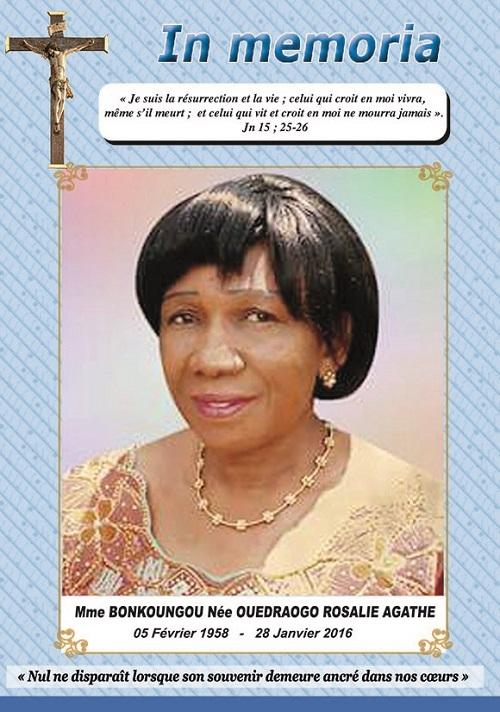 Décès de Madame Bonkoungou née Ouédraogo Rosalie Agathe: Faire part