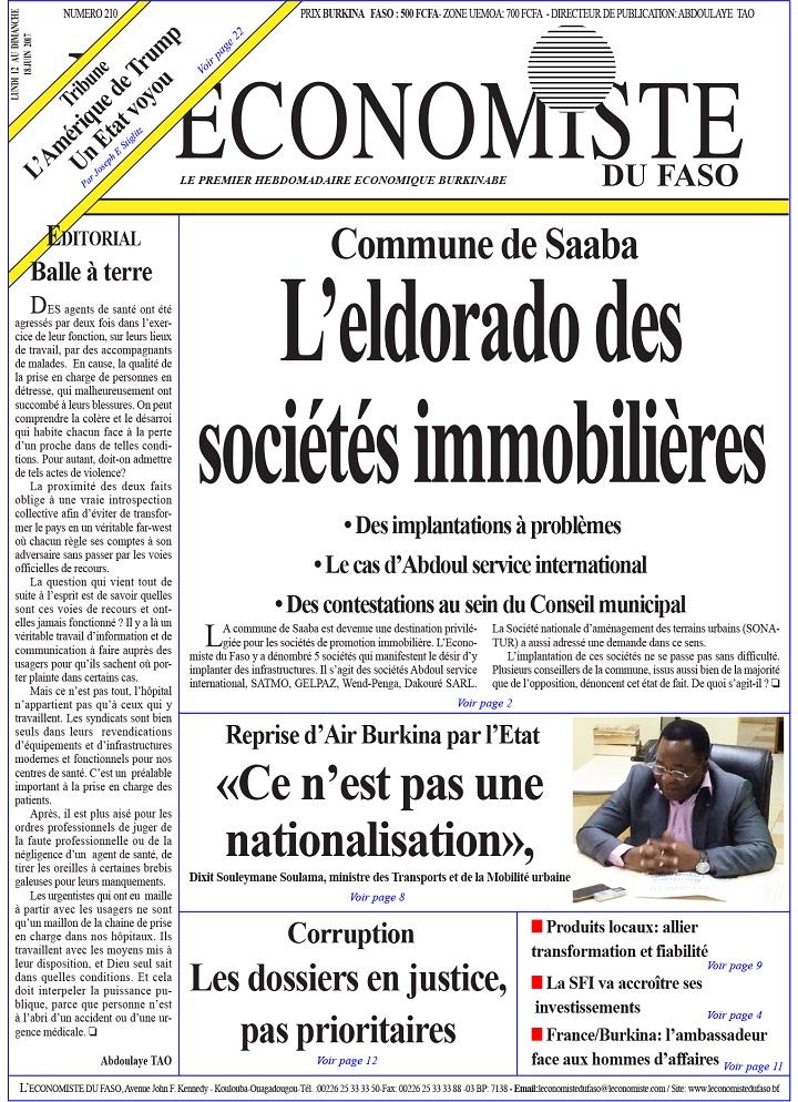 A la une de l'Economiste du Faso n°210: Commune de Saaba, l'eldorado des sociétés immobilières