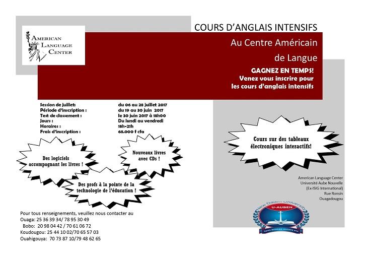 Centre Américain de Langue: GAGNEZ EN TEMPS! Venez vous inscrire pour les cours d'anglais intensifs