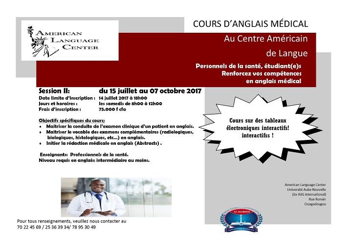 Centre Américain  de Langue: Personnels de la santé, étudiant(e)s, Renforcez vos compétences en anglais médical