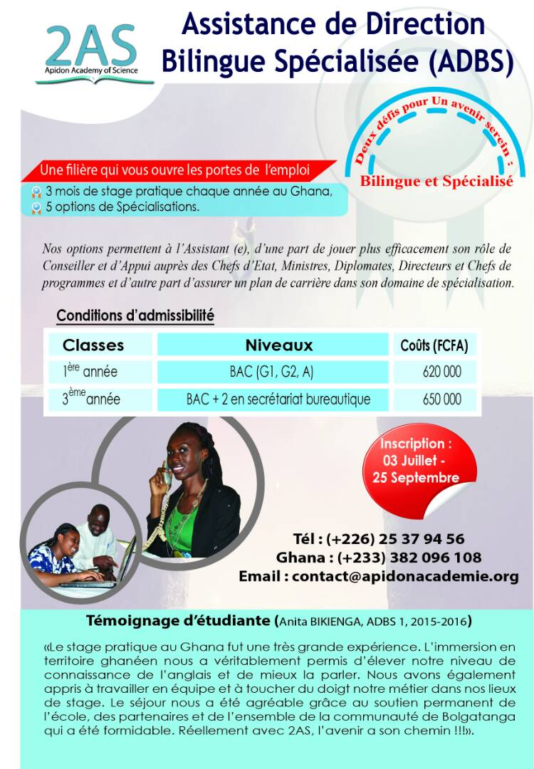 Apidon Academy of science (2AS) vous propose sa Licence en Assistance de Direction Bilingue Spécialisée (ADBS)