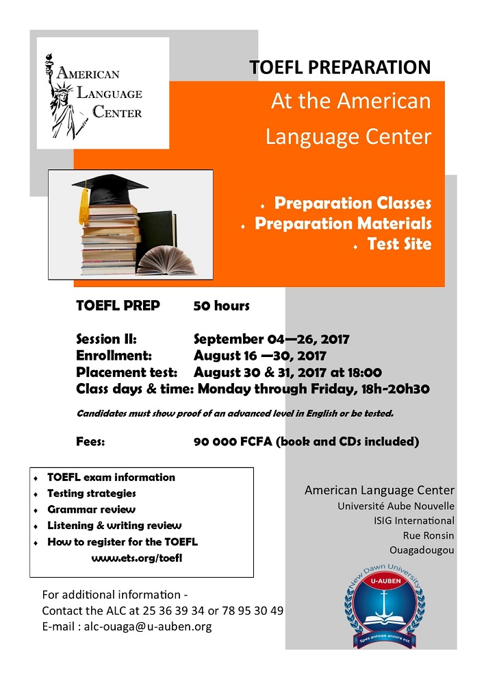 TOEFL PREPARATION At the American Language Center