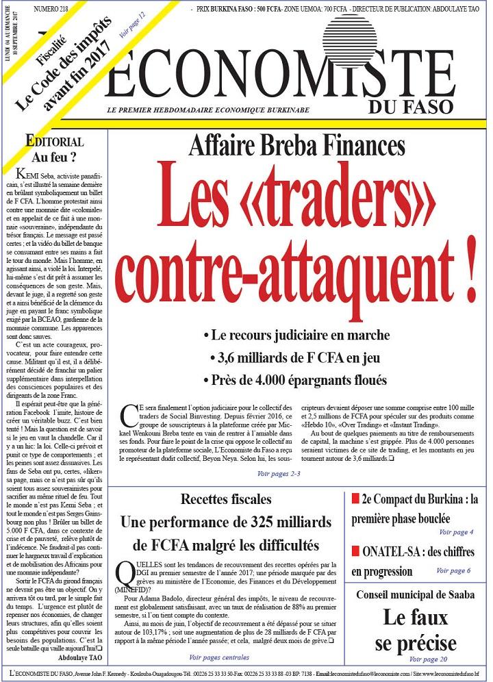 La UNE de l'Économiste du Faso numéro 218