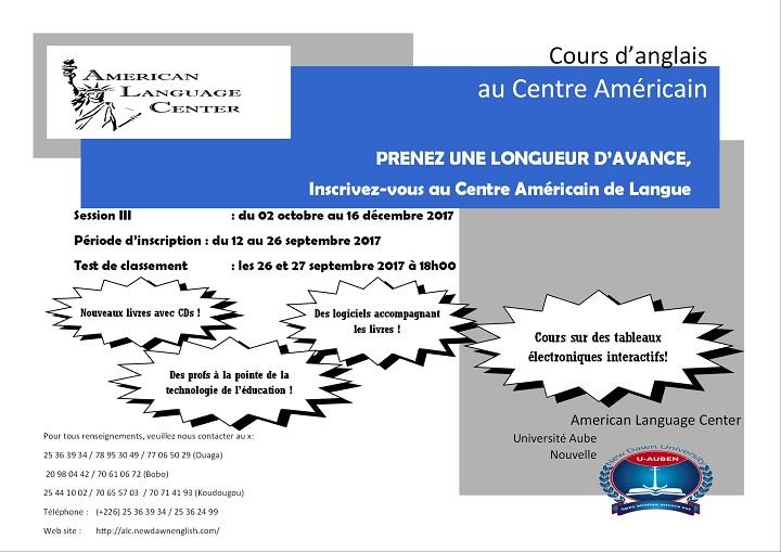 PRENEZ UNE LONGUEUR D'AVANCE, Inscrivez-vous au Centre Américain de Langue