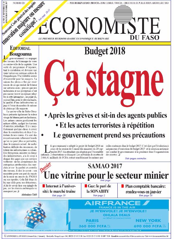 La UNE de l'Économiste du Faso numéro 221