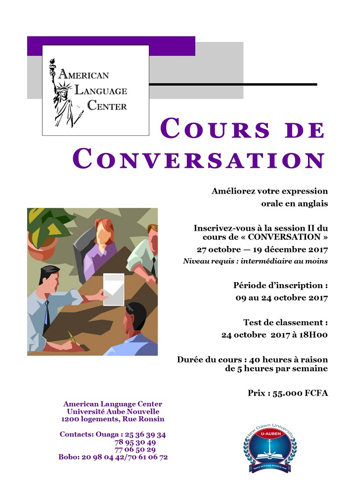 Inscrivez-vous à la session II du cours de «CONVERSATION» au Centre Américain de Langue