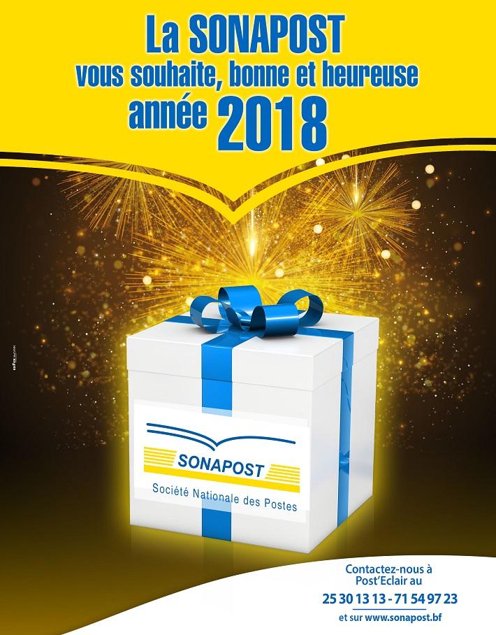 La SONAPOST vous souhaite, bonne et heureuse année 2018